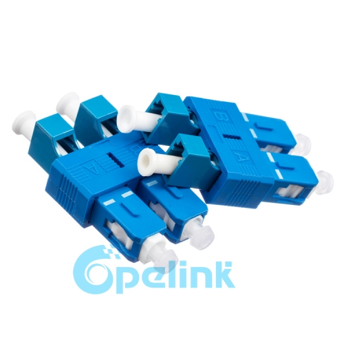 LC-SC Singlemode Duplex Female to Male Fiber Adapter Plug-in Fiber Optic Adaptor Hybird Mating Fiber Optic Adapter