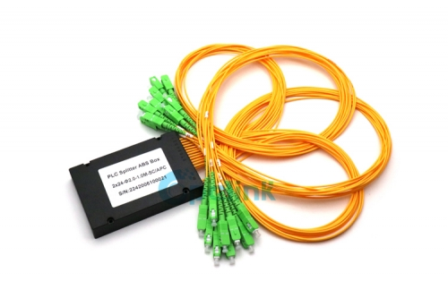 2X24 Fiber Splitter , 2.0mm SC/APC Fiber Optic PLC Splitter, ABS BOX Package