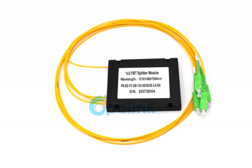 1x3 Fiber Optic FBT Splitter, ABS Module FBT Coupler, 2.0mm SC/APC SingleMode